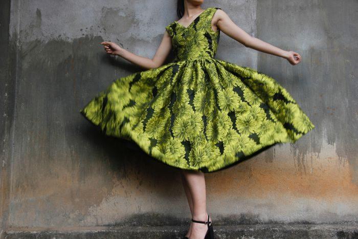 rochie in printuri florale de culoare verde